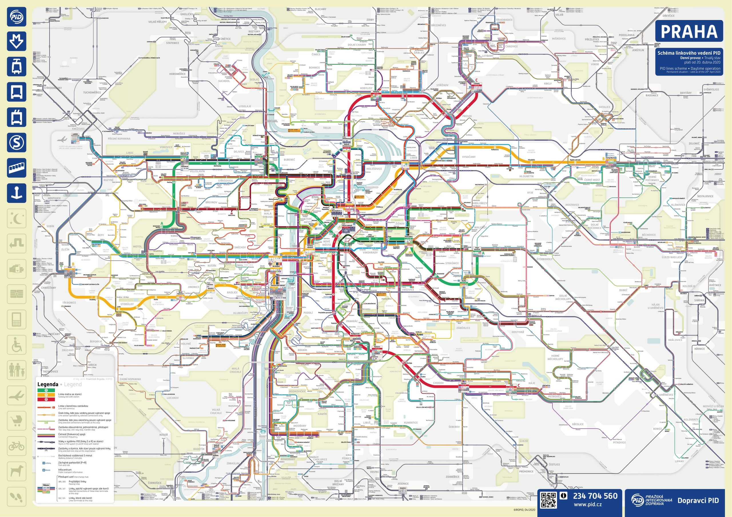 Mapa nového linkového vedení v Praze